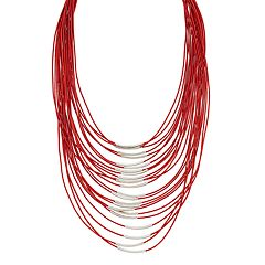 Red Curved Tube Layered Cord Necklace