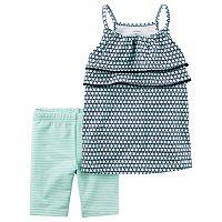 Baby Girl Carter's Geometric Tiered Tank Top & Striped Bike Shorts Set