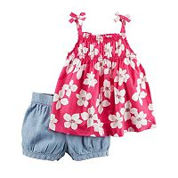Baby Girl Carter's Floral Tank Top & Chambray Bubble Shorts Set