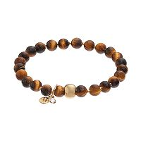 TFS Jewelry 14k Gold Over Silver Tiger's Eye Bead Stretch Bracelet