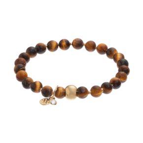 TFS Jewelry 14k Gold Over Silver Tiger's Eye Bead Stretch Bracelet