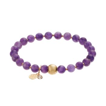 TFS Jewelry 14k Gold Over Silver Amethyst Bead Stretch Bracelet