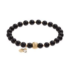 TFS Jewelry 14k Gold Over Silver Onyx Bead Stretch Bracelet