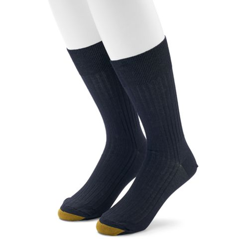 Men's GOLDTOE 2-pack Comfort Top Non-Binding Crew Socks