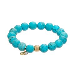 TFS Jewelry 14k Gold Over Silver Teal Magnesite Bead Stretch Bracelet