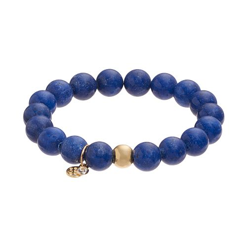 TFS Jewelry 14k Gold Over Silver Blue Jade Bead Stretch Bracelet