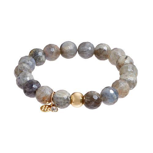 TFS Jewelry 14k Gold Over Silver Gray Labradorite Bead Stretch Bracelet