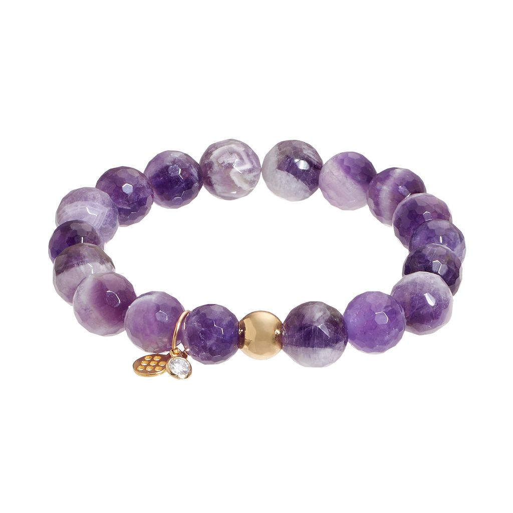 TFS Jewelry 14k Gold Over Silver Amethyst Bead Stretch Bracelet