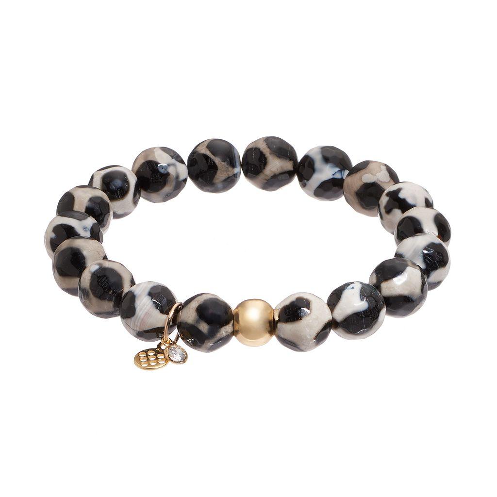 TFS Jewelry 14k Gold Over Silver Black Agate Bead Stretch Bracelet
