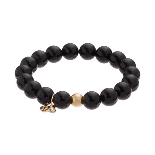 TFS Jewelry 14k Gold Over Silver Onyx Bead Stretch Bracelet