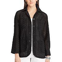 Petite Chaps Eyelet Lace Shirt Jacket