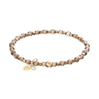 TFS Jewelry 14k Gold Over Silver Smoky Quartz Bead Stretch Bracelet