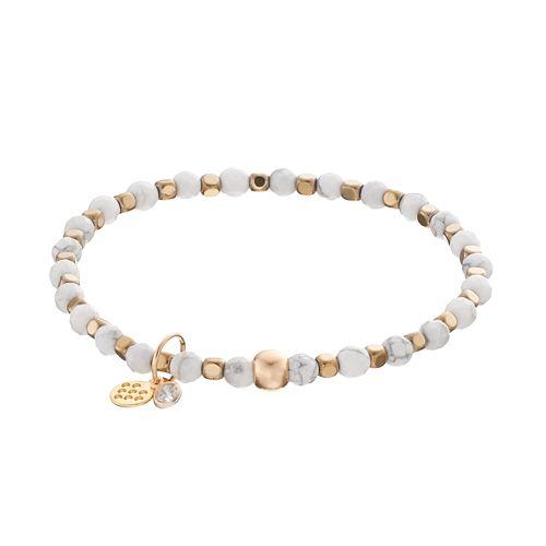 TFS Jewelry 14k Gold Over Silver White Howlite Bead Stretch Bracelet