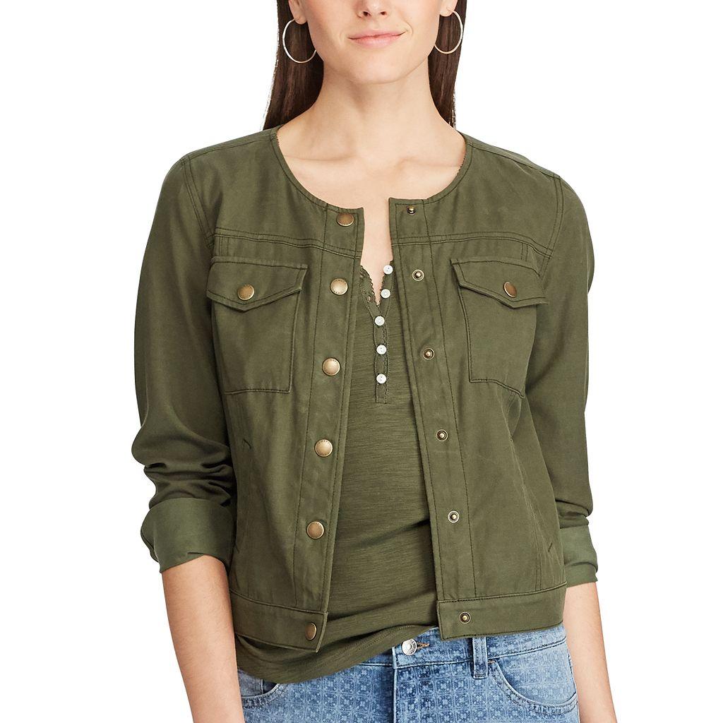 Petite Chaps Crop Twill Jacket