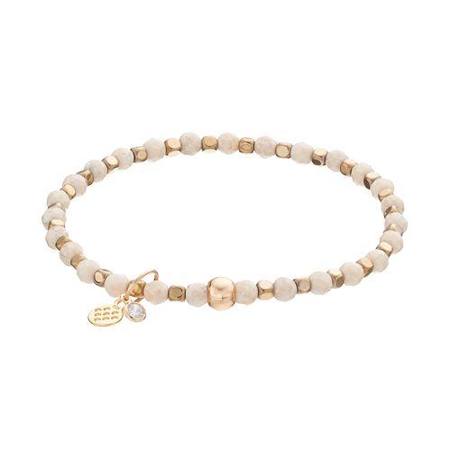 TFS Jewelry 14k Gold Over Silver Cream Jade Bead Stretch Bracelet