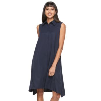 Women's Sharagano Solid A-Line Shirtdress