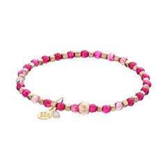 TFS Jewelry 14k Gold Over Silver Fuchsia Agate Bead Stretch Bracelet
