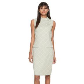 Women's Sharagano Windowpane Ponte Sheath Dress