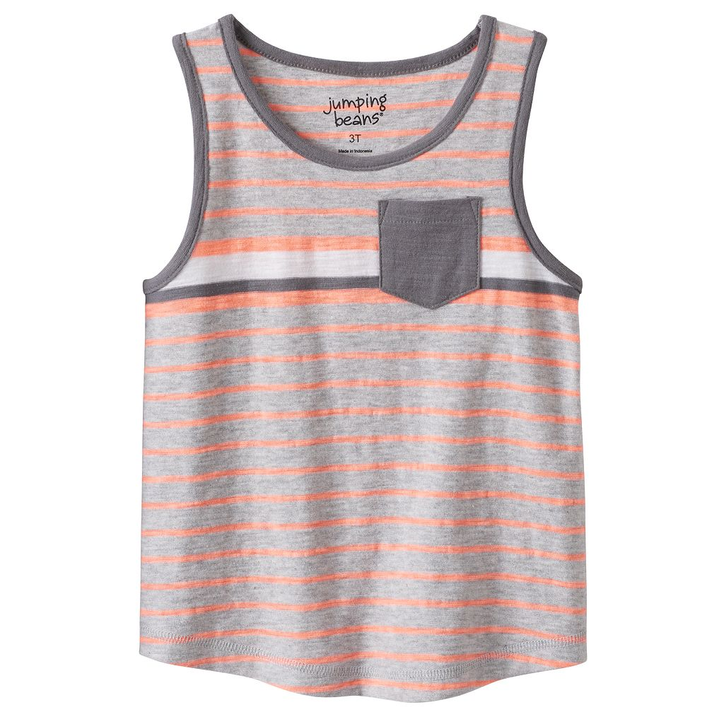 Toddler Boy Jumping Beans® Striped Curve Hem Pocket Tank Top