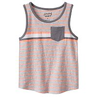 Toddler Boy Jumping Beans® Striped Curve Hem Pocket Tank Top