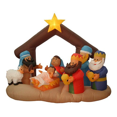 6.5-ft. Pre-Lit Inflatable Nativity Scene Outdoor Christmas Decor