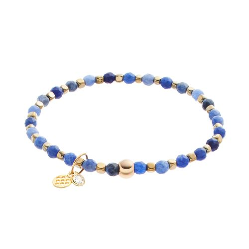 TFS Jewelry 14k Gold Over Silver Sodalite Bead Stretch Bracelet