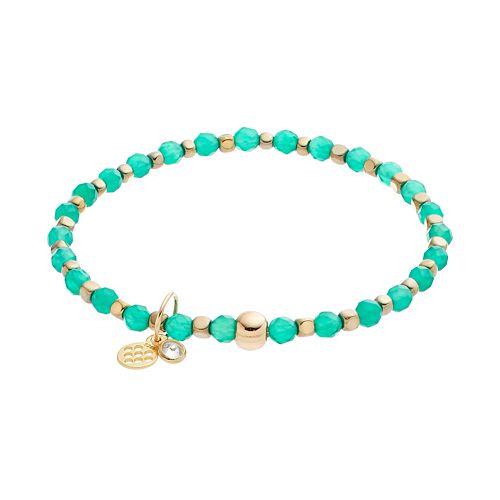 TFS Jewelry 14k Gold Over Silver Green Onyx Bead Stretch Bracelet