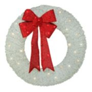 "Northlight 36"" Pre-Lit White and Red Outdoor Christmas Wreath"