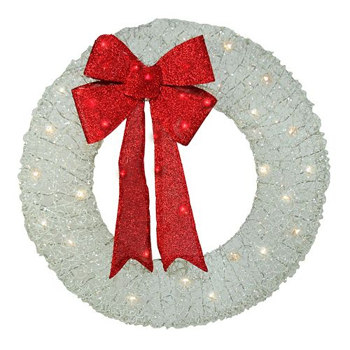 """Northlight 36"""" Pre-Lit White and Red Outdoor Christmas Wreath"""