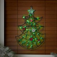 19 in Pre-Lit Metal Christmas Tree Wall Decor