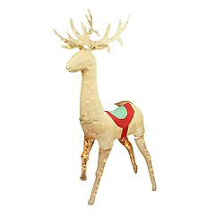 60-in. Pre-Lit Burlap Standing Reindeer Outdoor Christmas Decor