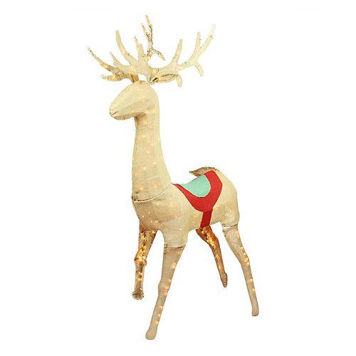 60-in. Pre-Lit Burlap Standing Reindeer Outdoor Christmas Decor