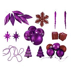 Shatterproof Purple & Red Christmas Ornament 125-piece Set