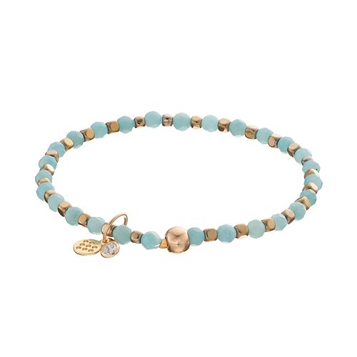 TFS Jewelry 14k Gold Over Silver Amazonite Bead Stretch Bracelet