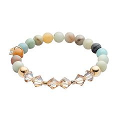 TFS Jewelry 14k Gold Over Silver Amazonite Bead & Crystal Stretch Bracelet