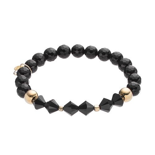 TFS Jewelry 14k Gold Over Silver Onyx Bead & Crystal Stretch Bracelet