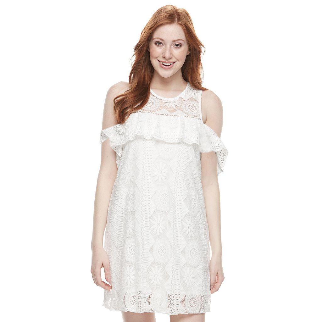 Juniors' Trixxi Cold Shoulder Lace Dress