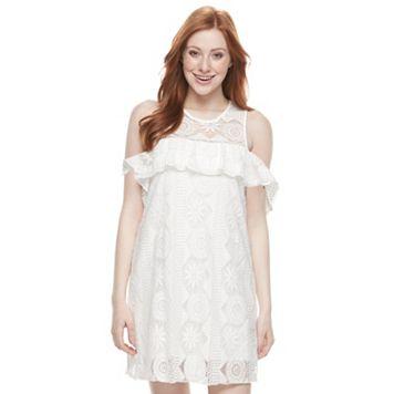 Juniors' Trixxi Cold Shoulder Lace Dress
