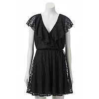 Juniors' Trixxi Lace Wrap Skater Dress