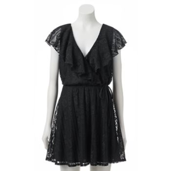 Juniors' Trixxi Lace Wrap Skater Dress