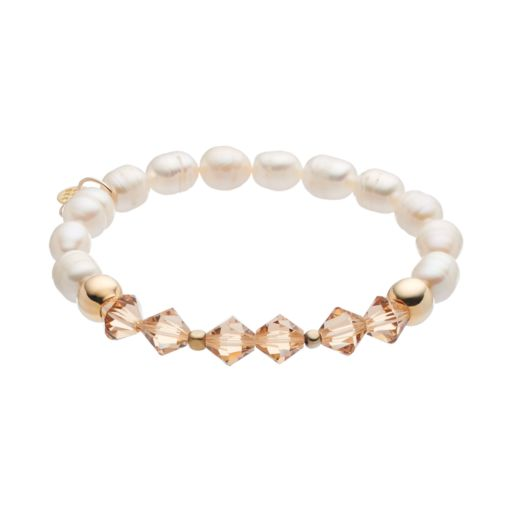 TFS Jewelry 14k Gold Over Silver Freshwater Cultured Pearl & Golden Crystal Stretch Bracelet