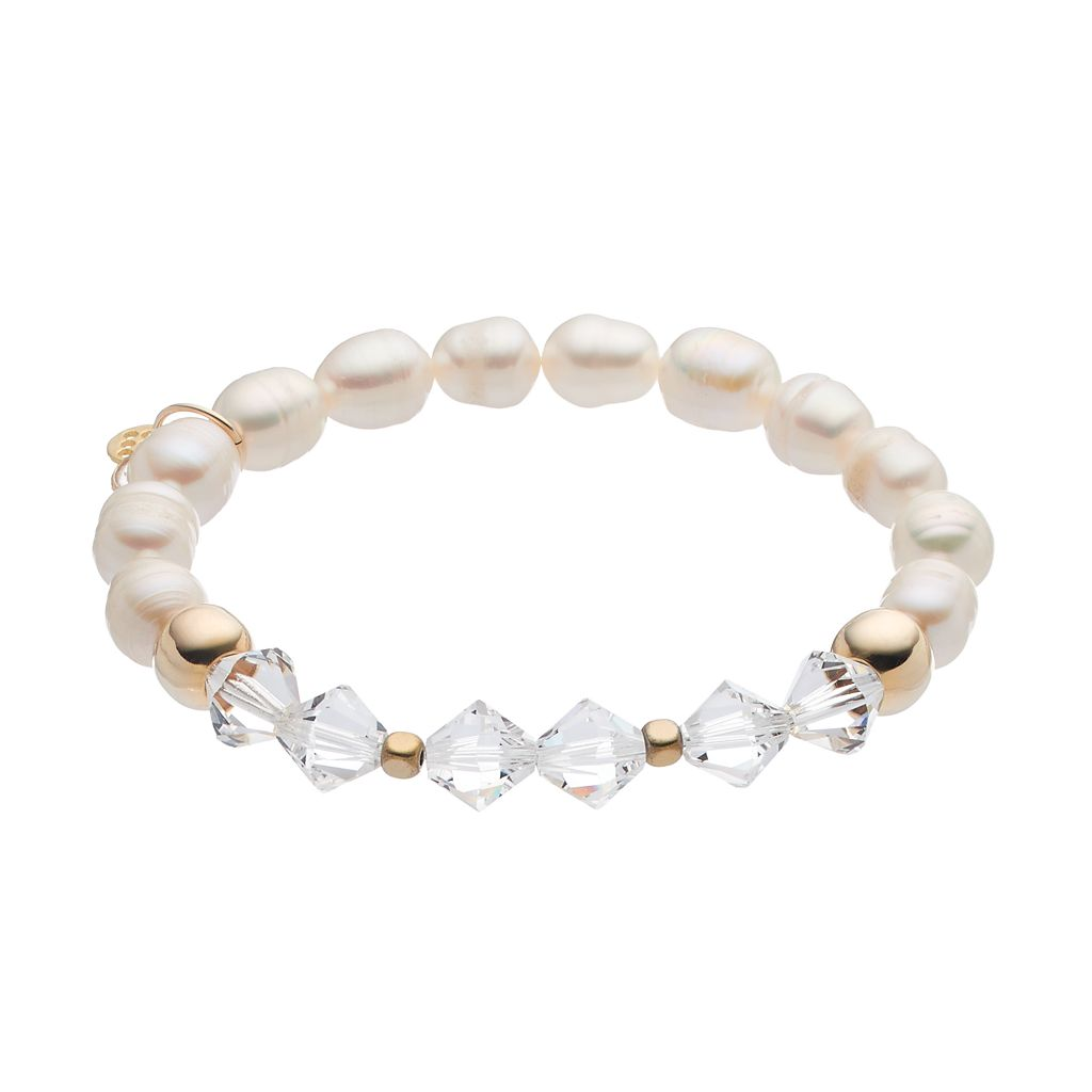 TFS Jewelry 14k Gold Over Silver Freshwater Cultured Pearl & Crystal Stretch Bracelet