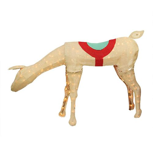 pre lit burlap reindeer outdoor christmas decor - Burlap Outdoor Christmas Decorations