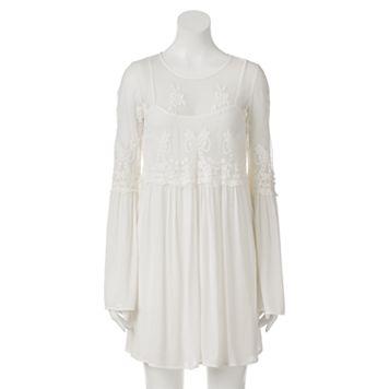Juniors' Trixxi Embroidered Mesh Bell Sleeve Dress