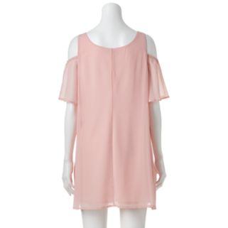 Juniors' Lily Rose Cold-Shoulder Shift Dress