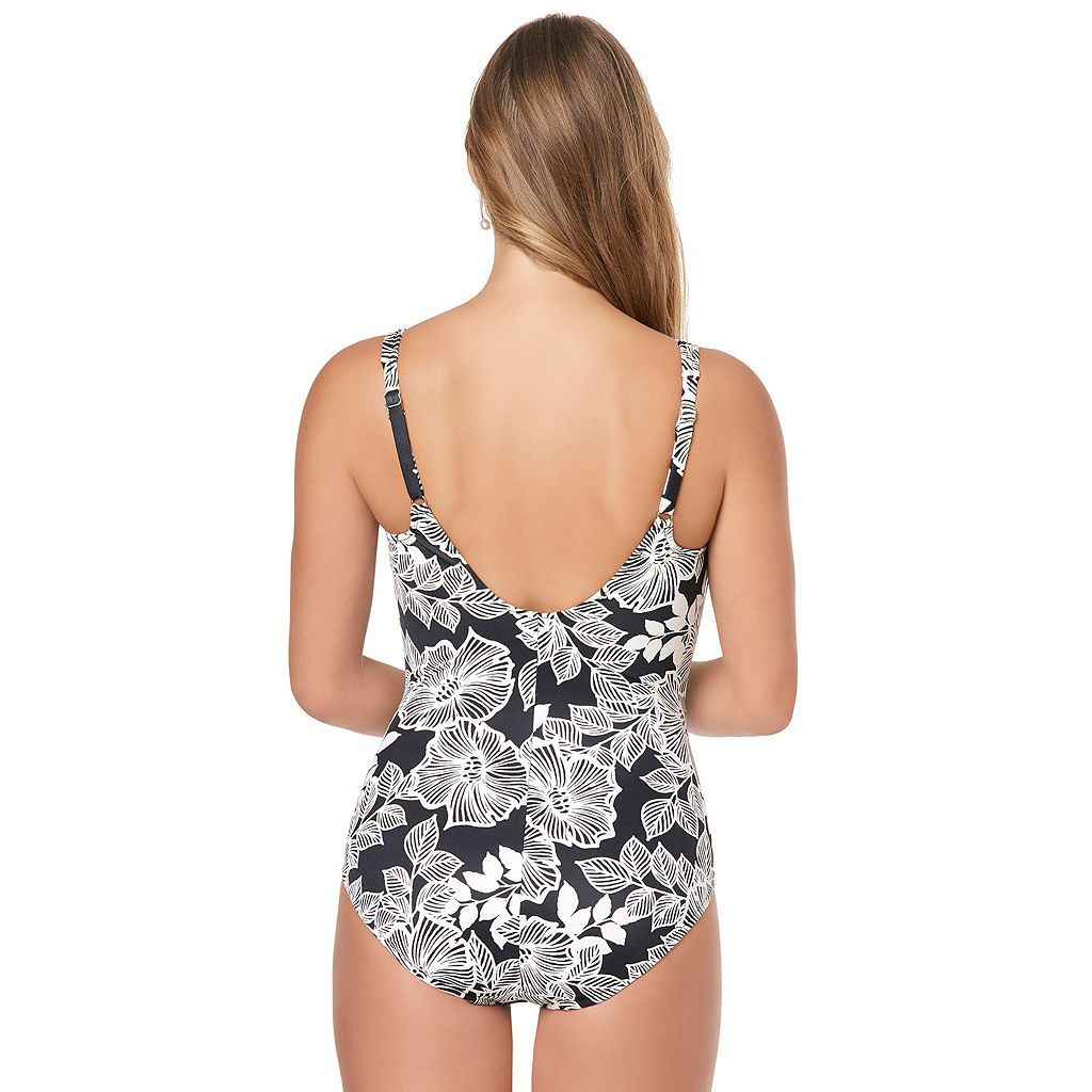 Women's Croft & Barrow® Body Sculptor Control Shirred One-Piece Swimsuit