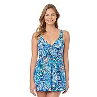 Women's Croft & Barrow® Tummy Slimmer Bow-Front Swimdress