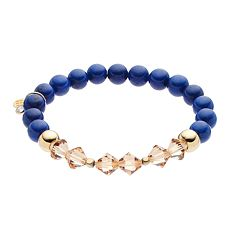TFS Jewelry 14k Gold Over Silver Blue Jade Bead & Crystal Stretch Bracelet