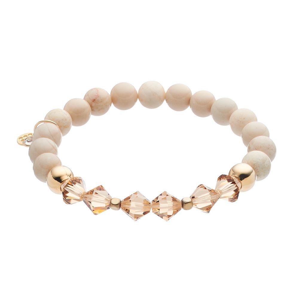 TFS Jewelry 14k Gold Over Silver Cream Jade Bead & Crystal Stretch Bracelet