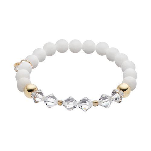 TFS Jewelry 14k Gold Over Silver White Jade Bead & Crystal Stretch Bracelet